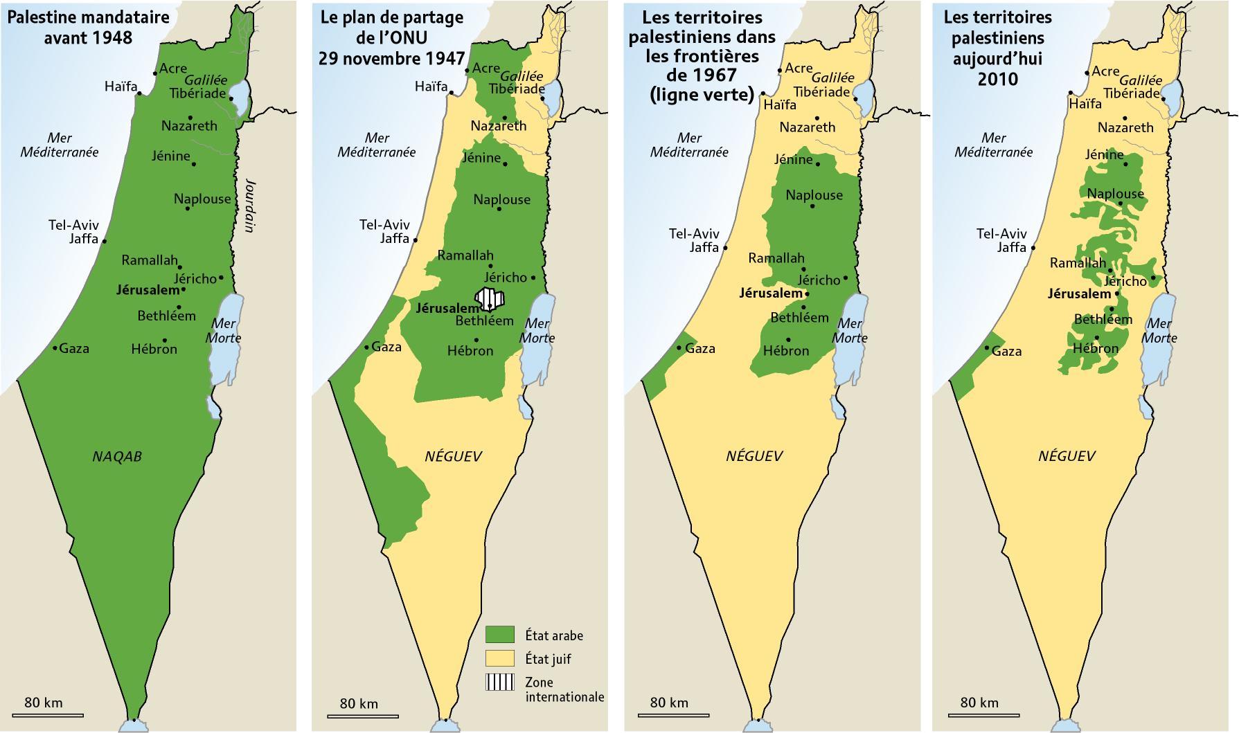 Evolution de la Palestine au fil des années